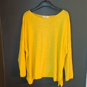 Zara Bright yellow knit sheer cotton crew